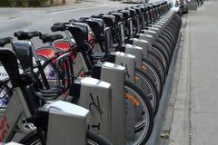 Bixi Fahrräder an der Kopplungsmanöverstation stockbild