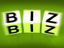Biz Blocks Displays Business Occupation Pursuit or field. Biz Blocks Displaying Business Occupation Pursuit or field Royalty Free Stock Photos