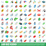 100 biz icons set, isometric 3d style Stock Photos