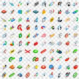 100 biz icons set, isometric 3d style. 100 biz icons set in isometric 3d style for any design vector illustration royalty free illustration