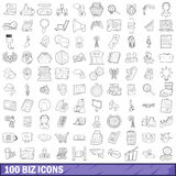 100 biz icons set, outline style. 100 biz set in outline style for any design vector illustration Royalty Free Stock Photos