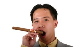 Biz Man Smoking Cigar Royalty Free Stock Photo