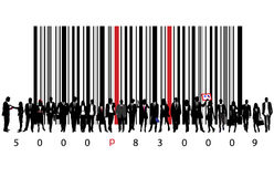 Biz people and bar code. Vector illustration of bar code and business people Stock Photos