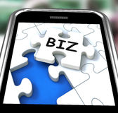 Biz Smartphone Means Internet Company Or Commerce Royalty Free Stock Photo