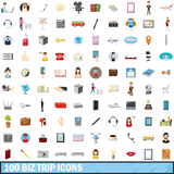 100 biz trip icons set, cartoon style. 100 biz trip icons set in cartoon style for any design vector illustration Vector Illustration