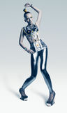 Bizarre alien woman in silver costume Royalty Free Stock Photography