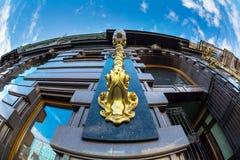 Bizarre architecturale ornamenten op het huis van Royalty-vrije Stock Foto