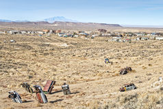 Bizarre artwork. Vehicles planted in the ground, artwork at Goldfield, Nevada Royalty Free Stock Images