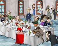 Bizarre banquet. Cartoon-style illustration of a bizarre buffet meal: grotesque characters eating and fighting for food Stock Image