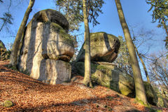 Bizarre boulders in the woods in the Bohemian Paradise Stock Image