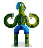 Bizarre creature vector illustration, cubism graphic modern pict Stock Photos