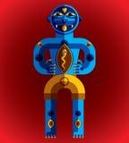 Bizarre creature vector illustration, cubism graphic modern Stock Images