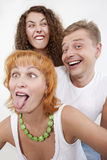 Bizarre family. Parents with their grown-up daughter stock image