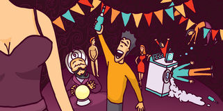Bizarre and fun cartoon wild party. Cartoon illustration of a wild party full of happy characters Royalty Free Stock Photos