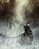 Bizarre girl in the forest. Gothic vampire in the forest Royalty Free Stock Photo