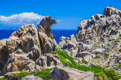 Bizarre granite rock formations in Capo Testa, Sardinia, Italy Royalty Free Stock Photos