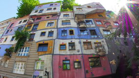 Bizarre hundertwasser house, contemporary architecture, vienna, austria, timelapse, 4k stock video footage
