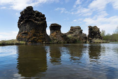 Bizarre lava formations and landscape in Hofdi, Iceland Stock Photography