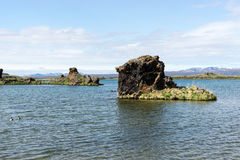 Bizarre lava formations and landscape in Hofdi, Iceland Royalty Free Stock Photos