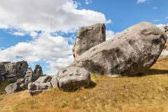 Bizarre limestone boulders at the Castle Hill, New Zealand. Bizarre limestone boulders at the Castle Hill, South Island, New Zealand stock image