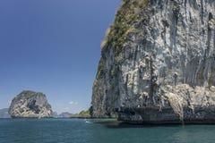 Bizarre limestone cliff south Thailand. Travel. Krabi. Bizarre limestone cliff and isle south Thailand. Travel. Krabi Stock Photos