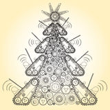 Bizarre machine Christmas tree build from groundworks vehicles wheels components. Royalty Free Stock Images