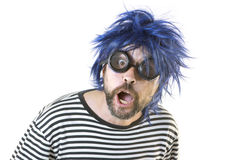 Bizarre Man Blue Hair Stock Image