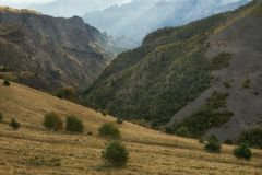 Bizarre mountainous landscape filmed against the light. Karachay-Cherkessia. North Caucasus stock photography