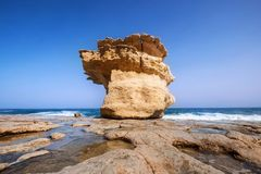 Bizarre `mushroom-rock` cliffs on the Maltese Mediterranean sea coast. Malta landscapes. Royalty Free Stock Images