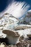 Bizarre mushrooms on a glacier. On the way to Everest Base Camp Stock Photo