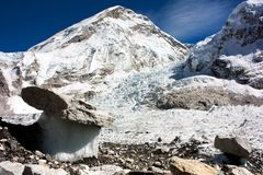 Bizarre mushrooms on a glacier. On the way to Everest Base Camp Royalty Free Stock Image