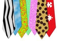 Bizarre neckties. Set of 7 bizarre neckties illustration Royalty Free Stock Image
