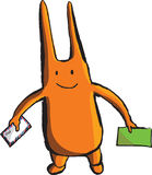 A bizarre orange wight with long ears and envelopes Royalty Free Stock Image