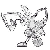 Bizarre outlined machine robot build from ground works components vehicles. Royalty Free Stock Images