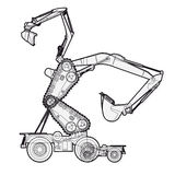 Bizarre outlined machine robot build from ground works components vehicles. Construction equipment for building. Truck digger crane forklift bagger mix Royalty Free Stock Photos