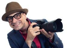 Bizarre paparazzi met geïsoleerde camera royalty-vrije stock afbeeldingen