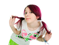 Bizarre pink hair emo girl. White background royalty free stock photography