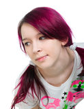 Bizarre pink hair emo girl. White background stock photography