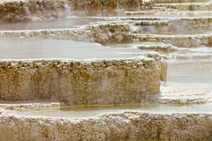 Bizarre Pools of Boiling Water in Yellows. Geothermal activity in Yellowstone National Park creates bizarre pools of boiling hot water at the Mammoth Hot Springs Stock Photo