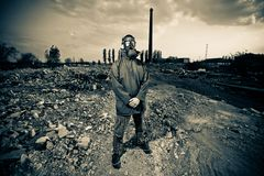 Bizarre portrait of man in gas mask Stock Image