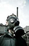 Bizarre Portrait Of Man In Gas Mask Stock Images