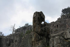 Bizarre rock formation on hiking trail, Corse, France. stock photography