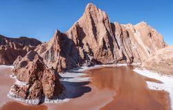 Bizar rock formation in the Mars Valley or Death Valley, Atacama Desert, Chile stock images