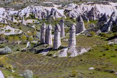 Bizarre rock formations of Cappadocia, Turkey Royalty Free Stock Photos