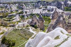 Bizarre rock formations of Cappadocia, Turkey. The bizarre rock formations of Cappadocia, Turkey Stock Photo