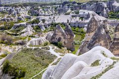 Bizarre rock formations of Cappadocia, Turkey Stock Photo