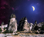Bizarre rock formations of volcanic Tuff and basalt in Cappadoci Royalty Free Stock Photography