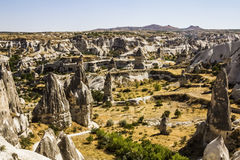 Bizarre rock formations of volcanic Tuff in Capadocia Stock Photos