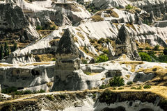 Bizarre rock formations of volcanic Tuff in Cappadocia Royalty Free Stock Images