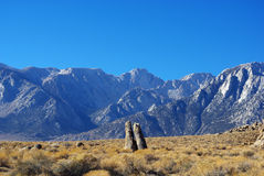 Bizarre rock towers and Sierra Nevada Stock Photography